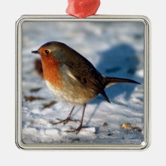 Vrolijke Leuke Kerstmis Weinig Robin in de Sneeuw Zilverkleurig Vierkant Ornament