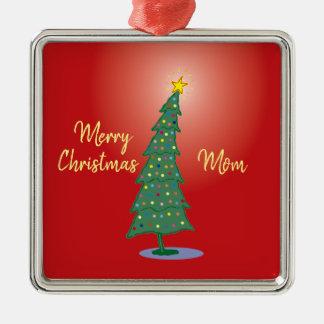 Vrolijke Oh Kerstboom Zilverkleurig Vierkant Ornament