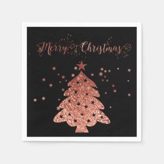 Vrolijke van Kerstmis Zwarte Roze folie Faux Als Papieren Servetten