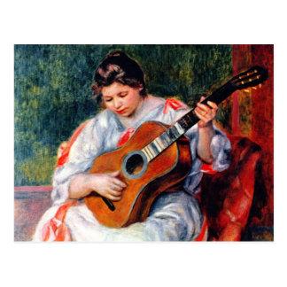 Vrouw die de Gitaar door Pierre Renoir spelen Briefkaart