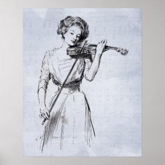 Vrouw die het vioolposter spelen poster