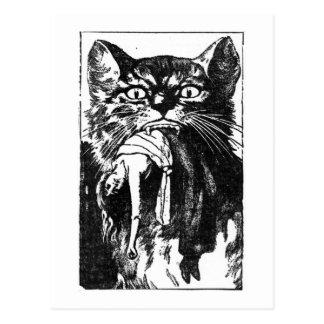 Vrouw die Kat eten Briefkaart