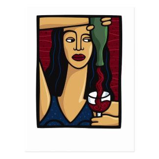 Vrouw die Rode Wijn gieten Briefkaart