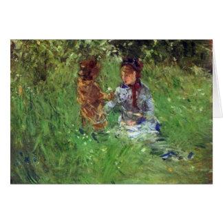 Vrouw en kind in tuin in Bougival door Morisot Kaart
