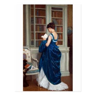 Vrouw in Blauw, dat een Boek leest Briefkaart