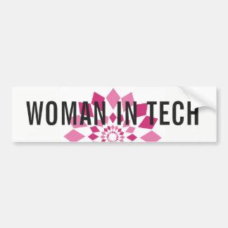 Vrouw in de Sticker van de Bumper van Technologie