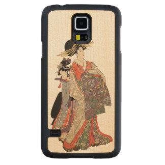 Vrouw in kleurrijke kimono (Vintage Japanse druk) Esdoorn Galaxy S5 Slim Hoesje