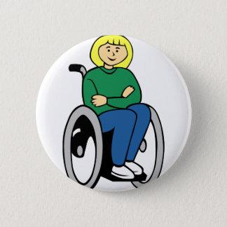 Vrouw in Rolstoel Ronde Button 5,7 Cm