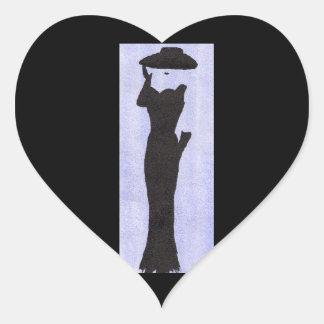 Vrouw in Zwarte Hart Stickers