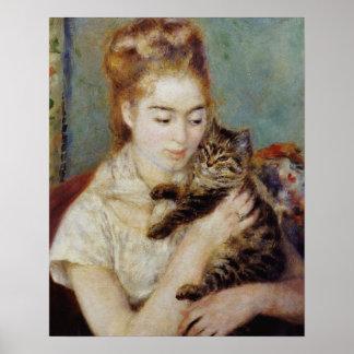 Vrouw met een Kat door Pierre-Auguste Renoir Poster