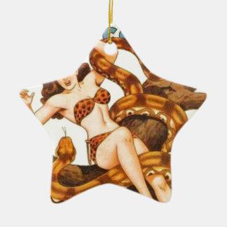 Vrouw met een Slang Keramisch Ster Ornament