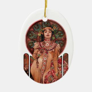 Vrouw met het Glas van Champagne Keramisch Ovaal Ornament