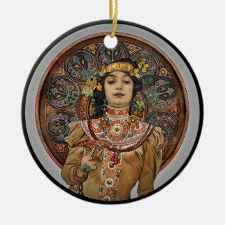 Vrouw met het Glas van Champagne Rond Keramisch Ornament