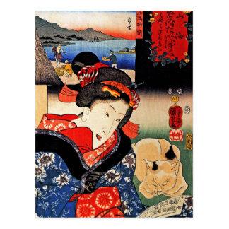 Vrouw met Kat - Japanse Kunst - Utagawa Kuniyoshi