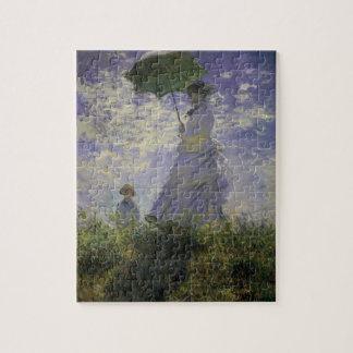 Vrouw met Parasol door Claude Monet, Vintage Art. Foto Puzzels