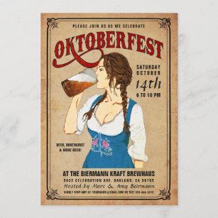 Vrouw Oktoberfest van de Uitnodigingen van