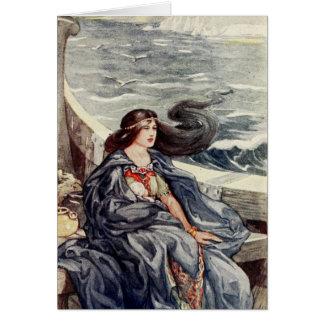 Vrouw op drift op zee - kaart