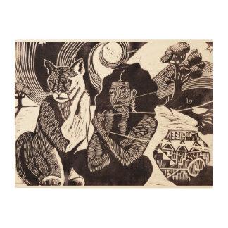 Vrouw, Wilde Kat & Sterrige Art. van de Muur van Houten Canvas Print