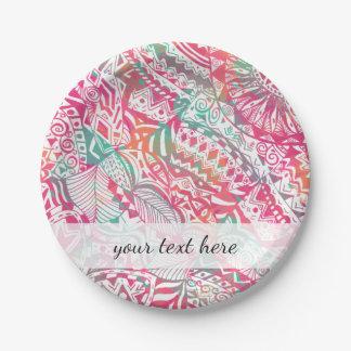 vrouwelijk hand getrokken roze stammen papieren bordje