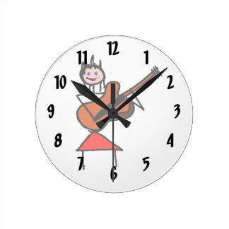 vrouwelijk van het cijfer bruin gtr van de gitaars ronde klok