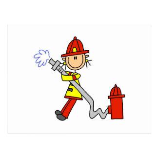 Vrouwelijke Brandbestrijder met de T-shirts en de Briefkaart