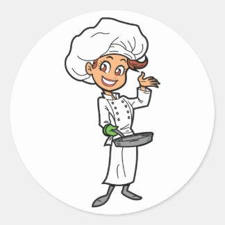 Vrouwelijke Chef-kok met de Stickers van een Pan