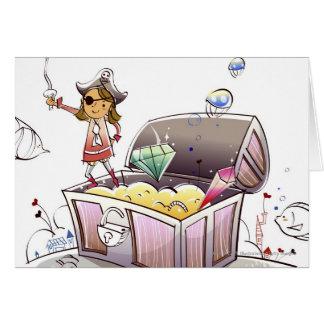 Vrouwelijke piraat die zich op een schatborst kaart