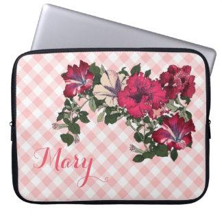 Vrouwelijke Roze Gingang en Petunia Laptop Sleeve
