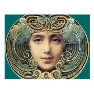 Vrouwelijke Vintage Schoonheid Nouveau Briefkaart