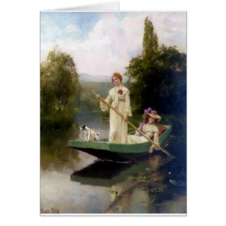 Vrouwen en Hond in het Schilderen van de Boot Briefkaarten 0