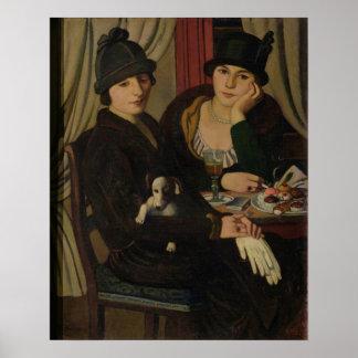 Vrouwen in een Koffie, c.1924 Poster