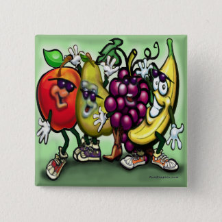 Vruchten Vierkante Button 5,1 Cm