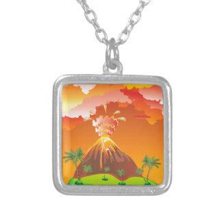 Vulkaanuitbarsting 2 van de cartoon zilver vergulden ketting
