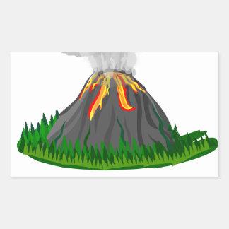 vulkaanuitbarsting en brand rechthoekige sticker