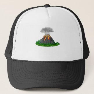 vulkaanuitbarsting en brand trucker pet