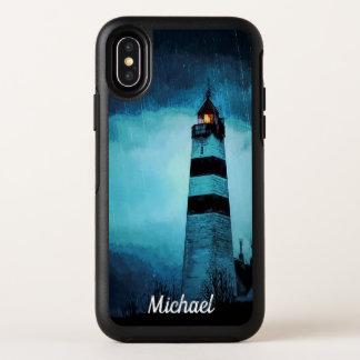 Vuurtoren met licht 's nachts in stortbui OtterBox symmetry iPhone x hoesje