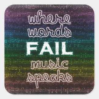 Waar de Woorden ontbreken, spreekt de Muziek Vierkante Sticker
