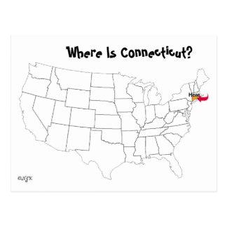 Waar is Connecticut? Briefkaart