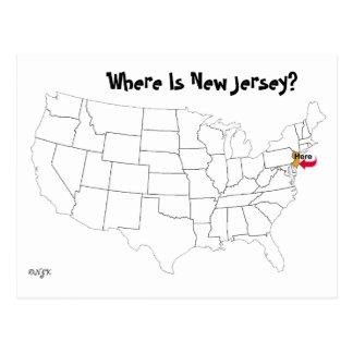 Waar is New Jersey? Briefkaart