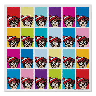 Waar Kleurrijk Patroon Waldo is Poster