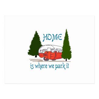 Waar wij het parkeren briefkaart