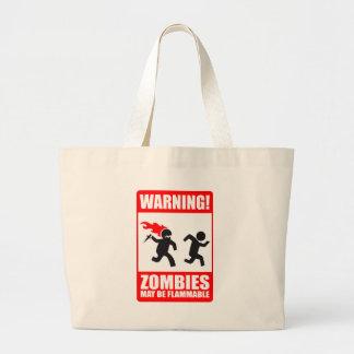 Waarschuwing! De zombieën mogen Brandbaar Canvas Grote Draagtas