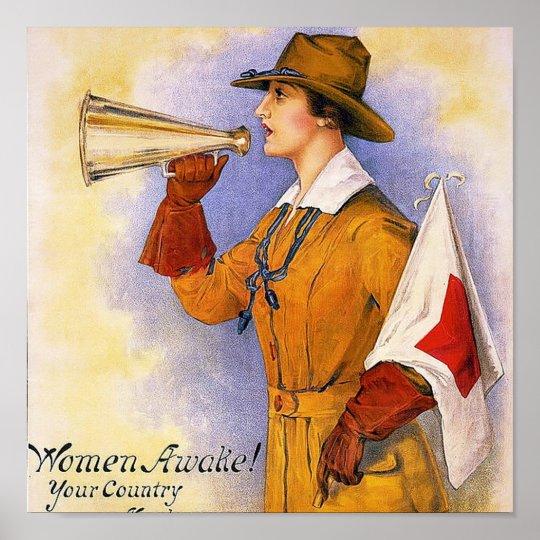 Wakkere vrouwen vintage oorlog van de wereld 1 poster - Vintage bank thuis van de wereld ...