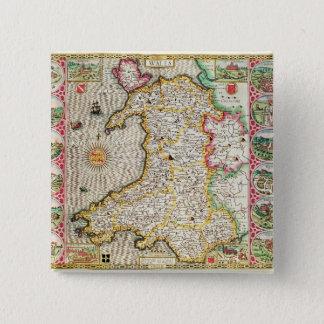 Wales, door Jodocus Hondius wordt gegraveerd die Vierkante Button 5,1 Cm