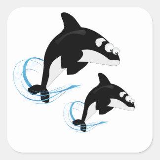 walvissen vierkant sticker