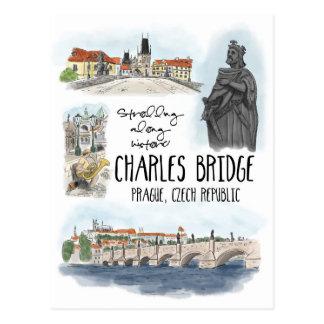 Wandelend Charles Bridge Praag - Briefkaart