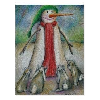 Wanhopige konijnen om de wortelneus van de briefkaart