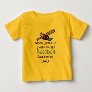Wanneer ik Honkbal met grafisch groei Baby T Shirts