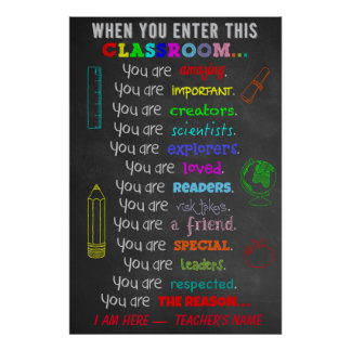 Wanneer u binnengaat beslist Dit Klaslokaal de Poster