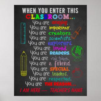 Wanneer u binnengaat beslist Dit Klaslokaal Poster